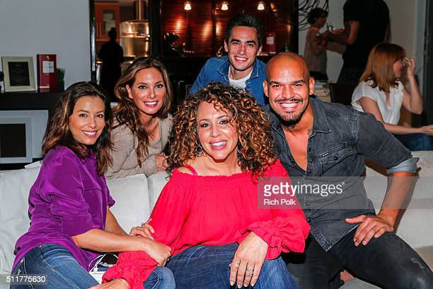 Actors Eva Longoria Alex Meneses Jose Moreno Brooks Diana Maria Riva and Amaury Nolasco attend an event hosted by The Macallan for the cast of NBC's...