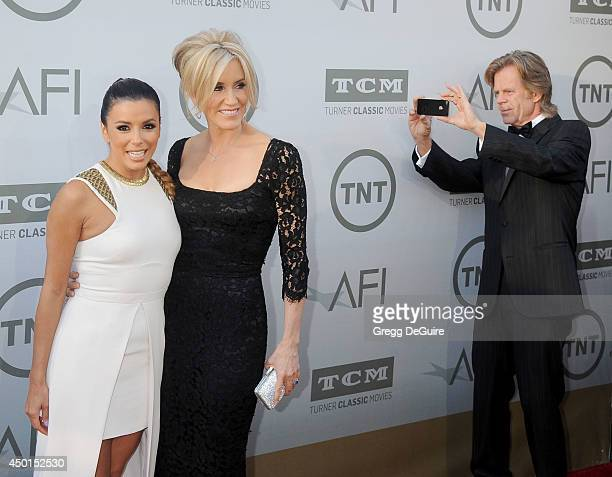 Actors Eva Longoria Felicity Huffman and William H Macy arrive at the 2014 AFI Life Achievement Award Gala Tribute at Dolby Theatre on June 5 2014 in...