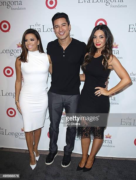 Actors Eva Longoria Mario Lopez and Courtney Mazza attend The Eva Longoria Foundation annual dinner at Beso on November 5 2015 in Hollywood California