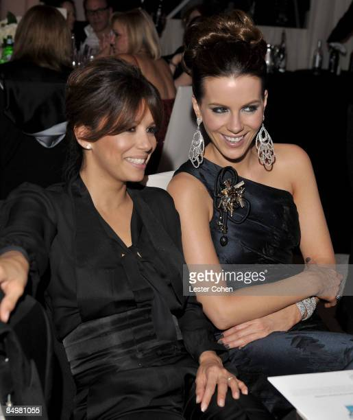 WEST HOLLYWOOD CA FEBRUARY 22 Actors Eva Longoria Parker and Kate Beckinsale attend the 17th Annual Elton John AIDS Foundation Oscar party held at...