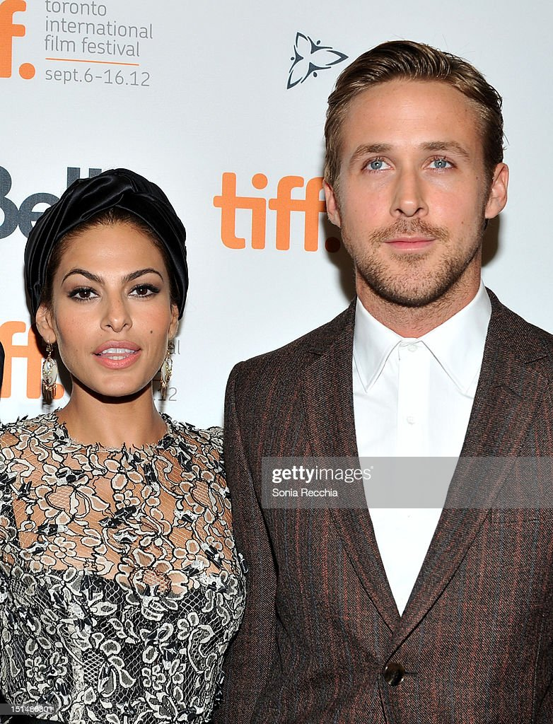 Actors <a gi-track='captionPersonalityLinkClicked' href=/galleries/search?phrase=Eva+Mendes&family=editorial&specificpeople=194937 ng-click='$event.stopPropagation()'>Eva Mendes</a> and <a gi-track='captionPersonalityLinkClicked' href=/galleries/search?phrase=Ryan+Gosling&family=editorial&specificpeople=214557 ng-click='$event.stopPropagation()'>Ryan Gosling</a> attend 'The Place Beyond The Pines' premiere during the 2012 Toronto International Film Festival at Princess of Wales Theatre on September 7, 2012 in Toronto, Canada.