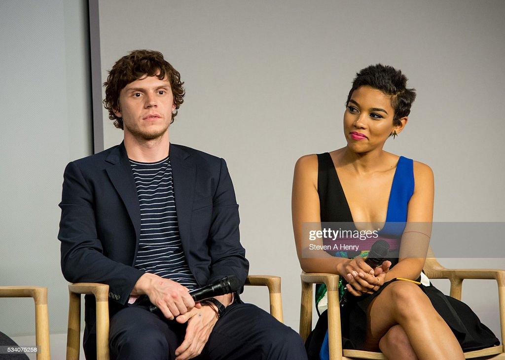 Actors <a gi-track='captionPersonalityLinkClicked' href=/galleries/search?phrase=Evan+Peters&family=editorial&specificpeople=2301160 ng-click='$event.stopPropagation()'>Evan Peters</a> and <a gi-track='captionPersonalityLinkClicked' href=/galleries/search?phrase=Alexandra+Shipp&family=editorial&specificpeople=10012876 ng-click='$event.stopPropagation()'>Alexandra Shipp</a> attend Meet the Cast: 'X-Men Apocalypse' at Apple Store Soho on May 24, 2016 in New York City.