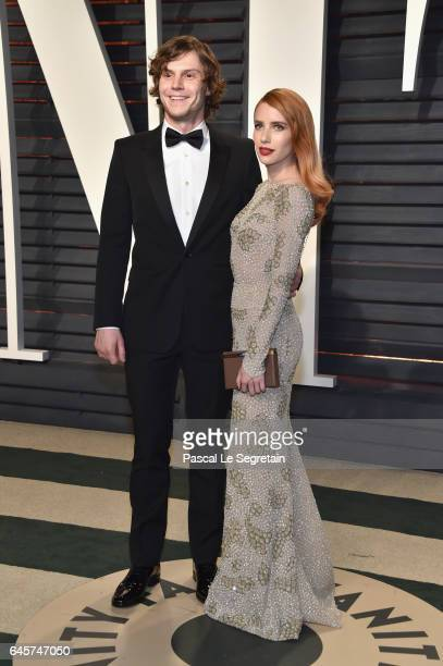 Actors Evan Peters and Emma Roberts attend the 2017 Vanity Fair Oscar Party hosted by Graydon Carter at Wallis Annenberg Center for the Performing...