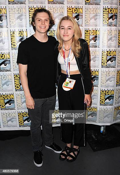 Actors Evan Peters and Harley Quinn Smith pose backstage at the 'American Horror Story' and 'Scream Queens' panel during ComicCon International 2015...