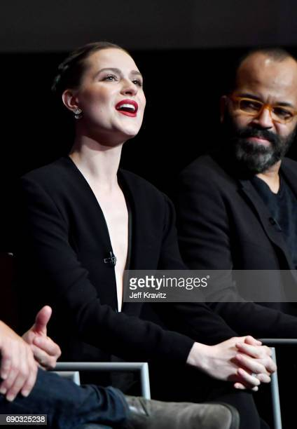 Actors Evan Rachel Wood and Jeffrey Wright speak onstage during HBO's 'Westworld' FYC panel at the Saban Media Center on May 30 2017 in North...