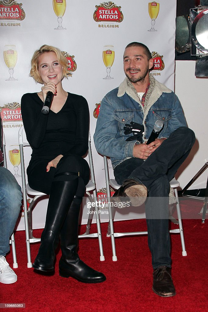 Actors <a gi-track='captionPersonalityLinkClicked' href=/galleries/search?phrase=Evan+Rachel+Wood&family=editorial&specificpeople=203074 ng-click='$event.stopPropagation()'>Evan Rachel Wood</a> and Shia LaBeouf attend the Stella Artois hosted Press Junket for The Necessary Death of Charlie Countryman on January 22, 2013 in Park City, Utah.