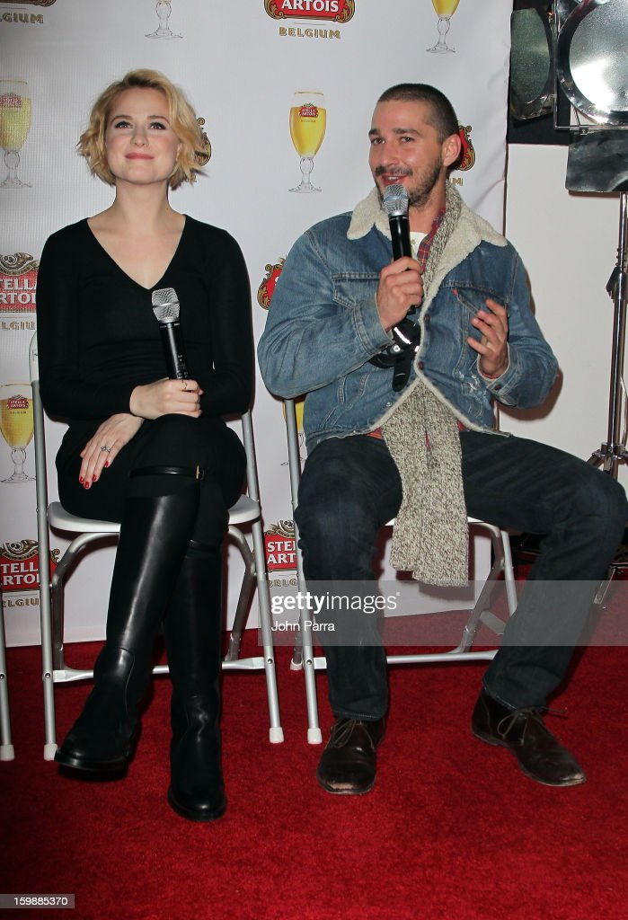 Actors Evan Rachel Wood and Shia LaBeouf attend the Stella Artois hosted Press Junket for The Necessary Death of Charlie Countryman on January 22, 2013 in Park City, Utah.