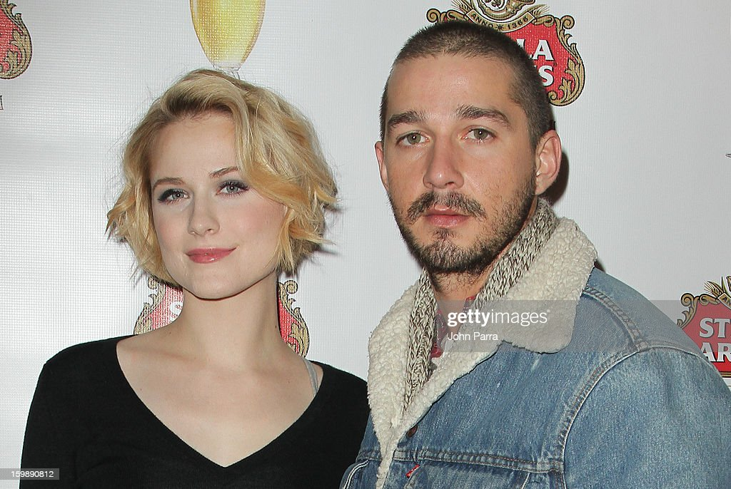 Actors <a gi-track='captionPersonalityLinkClicked' href=/galleries/search?phrase=Evan+Rachel+Wood&family=editorial&specificpeople=203074 ng-click='$event.stopPropagation()'>Evan Rachel Wood</a> and Shia LaBeouf attend the Stella Artois hosted Press Junket for 'The Neccessary Death of Charlie Countryman' on January 22, 2013 in Park City, Utah.