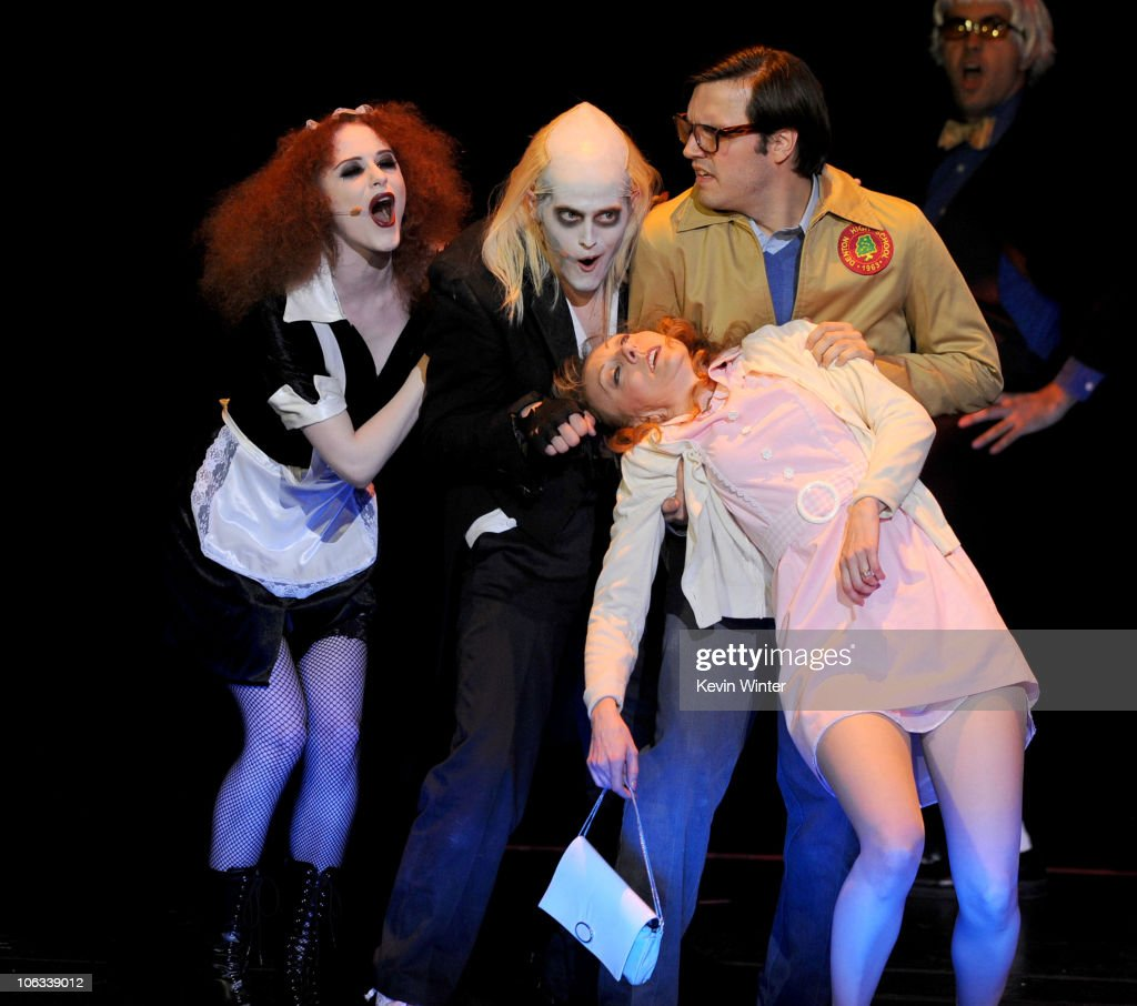 Actors Evan Rachel Wood Lucas Grabeel perform with actors onstage during The Rocky Horror Picture Show 35th anniversary to benefit The Painted Turtle...