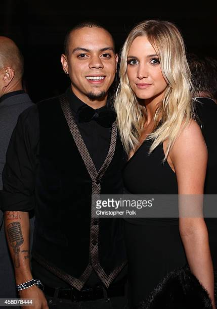 Actors Evan Ross and Ashlee Simpson attend amfAR LA Inspiration Gala honoring Tom Ford at Milk Studios on October 29 2014 in Hollywood California