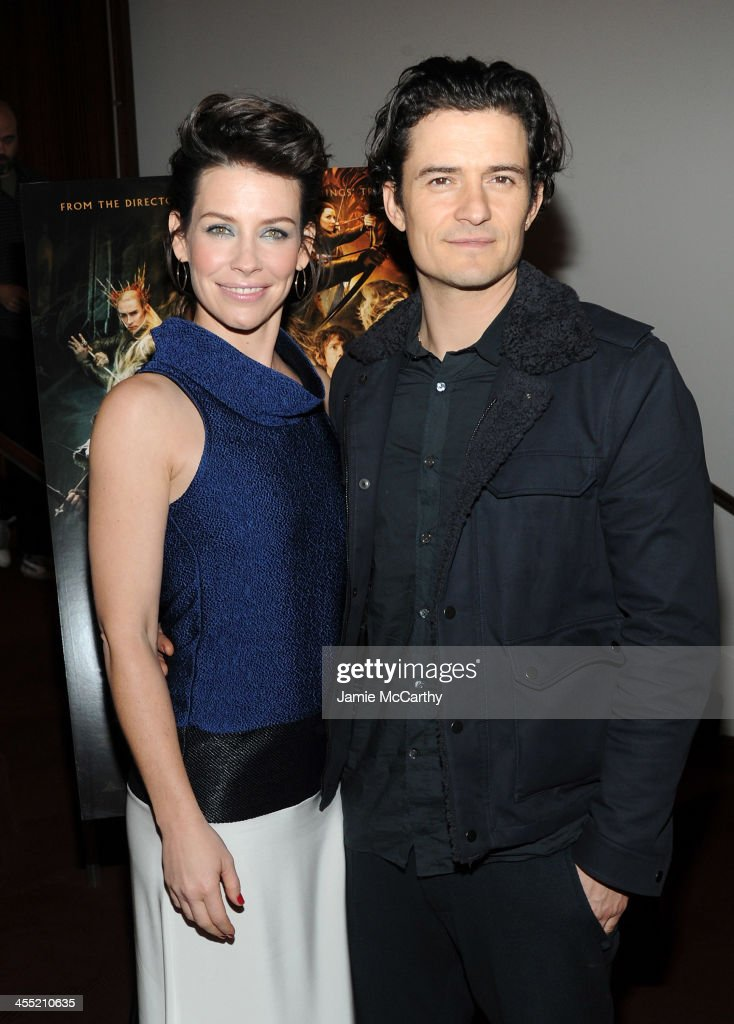 Actors <a gi-track='captionPersonalityLinkClicked' href=/galleries/search?phrase=Evangeline+Lilly&family=editorial&specificpeople=228168 ng-click='$event.stopPropagation()'>Evangeline Lilly</a> and <a gi-track='captionPersonalityLinkClicked' href=/galleries/search?phrase=Orlando+Bloom&family=editorial&specificpeople=202520 ng-click='$event.stopPropagation()'>Orlando Bloom</a> attend New Line Cinema and MGM Pictures' screening of 'The Hobbit: The Desolation of Smaug' hosted by the Cinema Society and Moncler on December 11, 2013 in New York City.