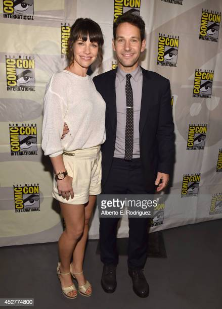 Actors Evangeline Lilly and Paul Rudd attend Marvel's Hall H Panel for 'AntMan' during ComicCon International 2014 at San Diego Convention Center on...