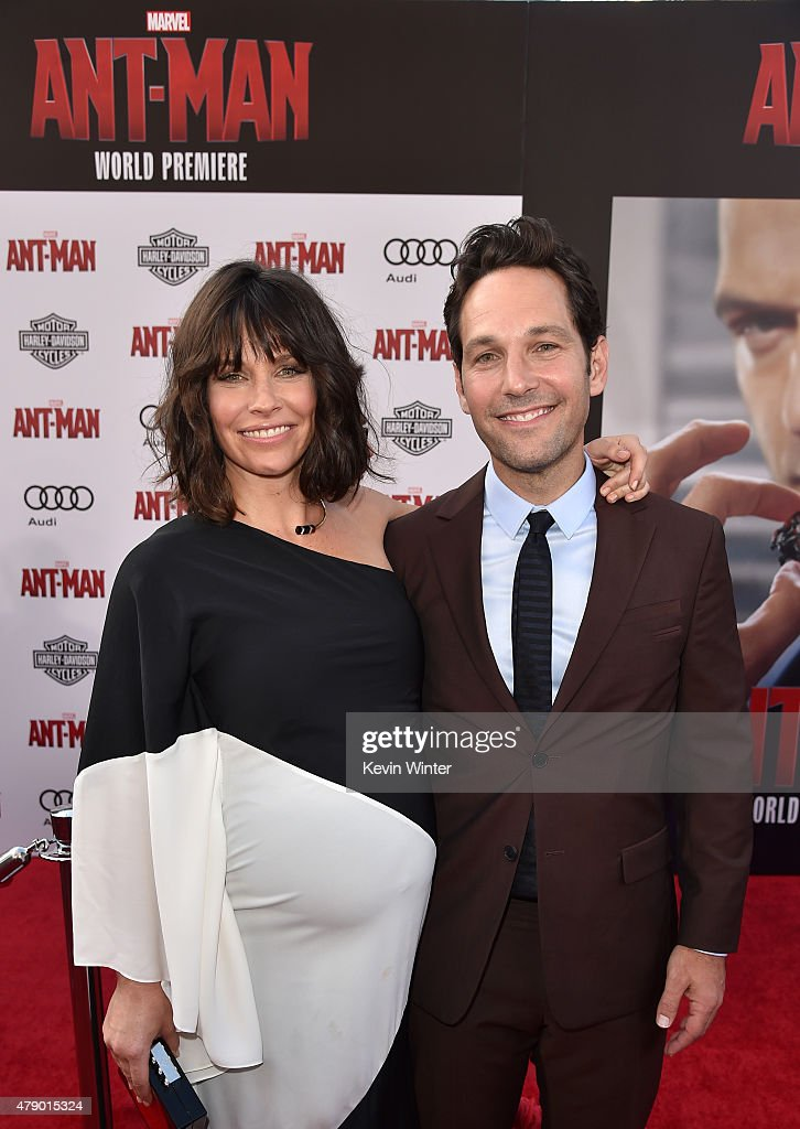 Actors Evangeline Lilly (L) and Paul Rudd attend the premiere of Marvel's 'Ant-Man' at the Dolby Theatre on June 29, 2015 in Hollywood, California.