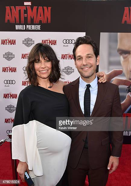 Actors Evangeline Lilly and Paul Rudd attend the premiere of Marvel's 'AntMan' at the Dolby Theatre on June 29 2015 in Hollywood California
