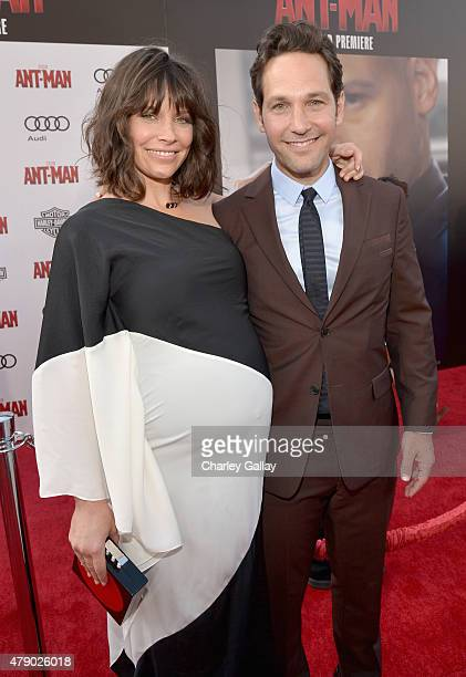 Actors Evangeline Lilly and Paul Rudd attend the world premiere of Marvel's 'AntMan' at The Dolby Theatre on June 29 2015 in Los Angeles California