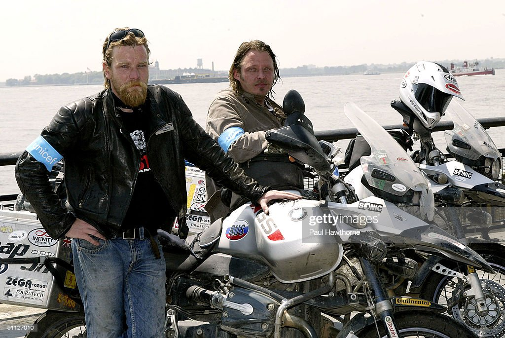 Actors Ewan McGregor L And Charley Boorman Pose For A Photo After Riding Into