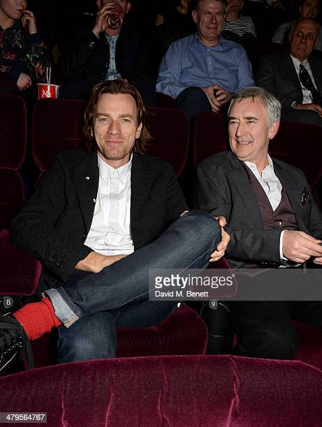 Actors Ewan McGregor and Denis Lawson attend a VIP screening of 'The Machine' at The Vue on March 19 2014 in London England