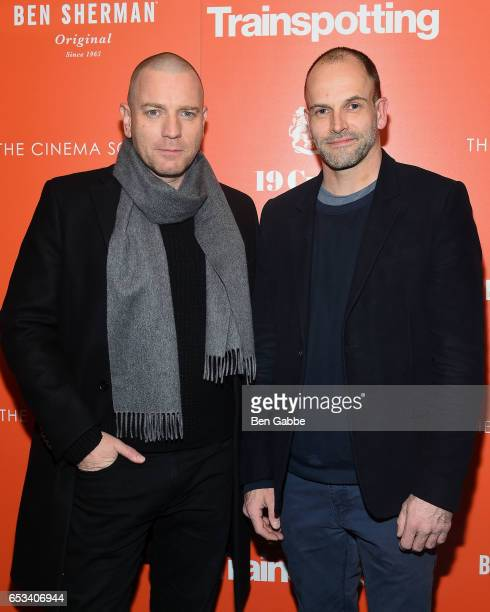 Actors Ewan McGregor and Jonny Lee Miller attend a TriStar and Cinema Society screening of 'T2 Trainspotting' at Landmark Sunshine Cinema on March 14...