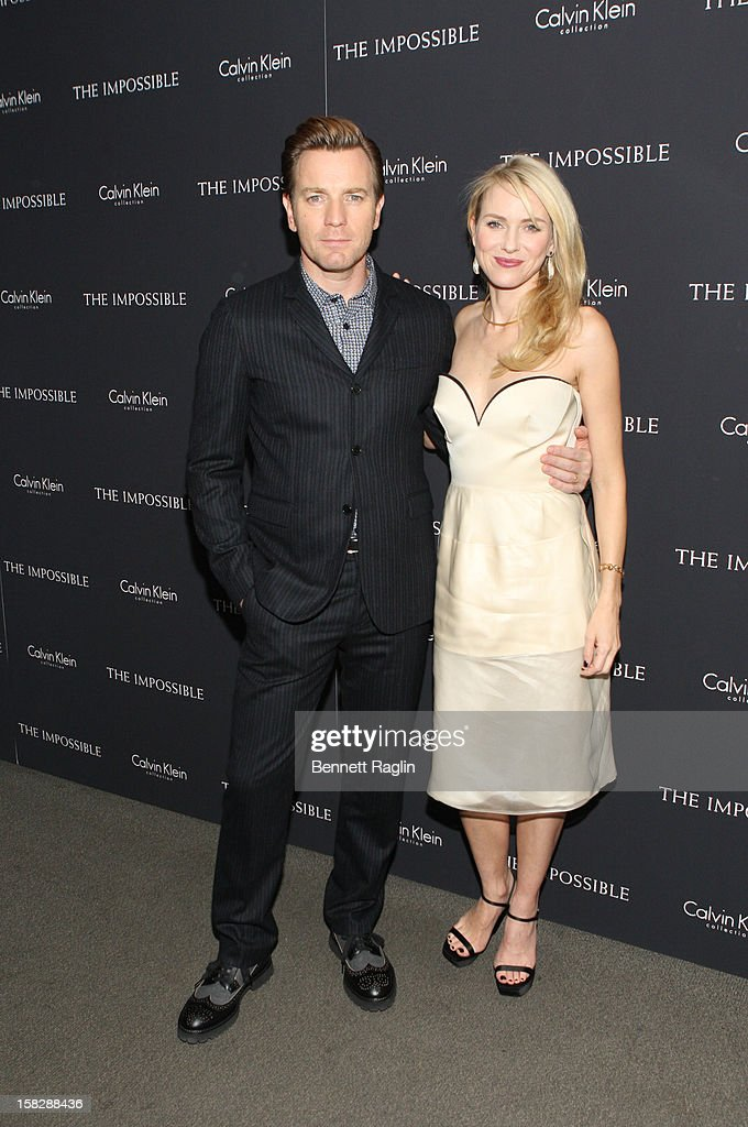 Actors Ewan McGregor and <a gi-track='captionPersonalityLinkClicked' href=/galleries/search?phrase=Naomi+Watts&family=editorial&specificpeople=171723 ng-click='$event.stopPropagation()'>Naomi Watts</a> attend 'The Impossible' New York Special Screening at Museum of Art and Design on December 12, 2012 in New York City.