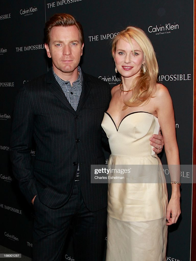Actors Ewan McGregor and <a gi-track='captionPersonalityLinkClicked' href=/galleries/search?phrase=Naomi+Watts&family=editorial&specificpeople=171723 ng-click='$event.stopPropagation()'>Naomi Watts</a> attend 'The Impossible' screening at the Museum of Art and Design on December 12, 2012 in New York City.