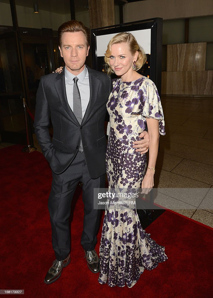 Actors Ewan McGregor (L) and <a gi-track='captionPersonalityLinkClicked' href=/galleries/search?phrase=Naomi+Watts&family=editorial&specificpeople=171723 ng-click='$event.stopPropagation()'>Naomi Watts</a> attend the Los Angeles premiere of Summit Entertainment's 'The Impossible' at ArcLight Cinemas Cinerama Dome on December 10, 2012 in Hollywood, California.