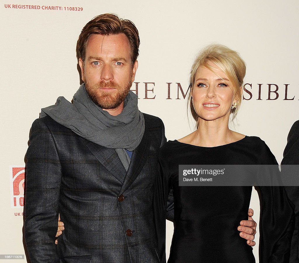 Actors Ewan McGregor (L) and <a gi-track='captionPersonalityLinkClicked' href=/galleries/search?phrase=Naomi+Watts&family=editorial&specificpeople=171723 ng-click='$event.stopPropagation()'>Naomi Watts</a> attend the UK charity premiere of 'The Impossible' at BFI IMAX on November 19, 2012 in London, England.
