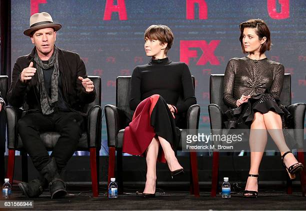 Actors Ewan McGregor Carrie Coon and Mary Elizabeth Winstead of the television show 'Fargo' speak onstage during the FX portion of the 2017 Winter...