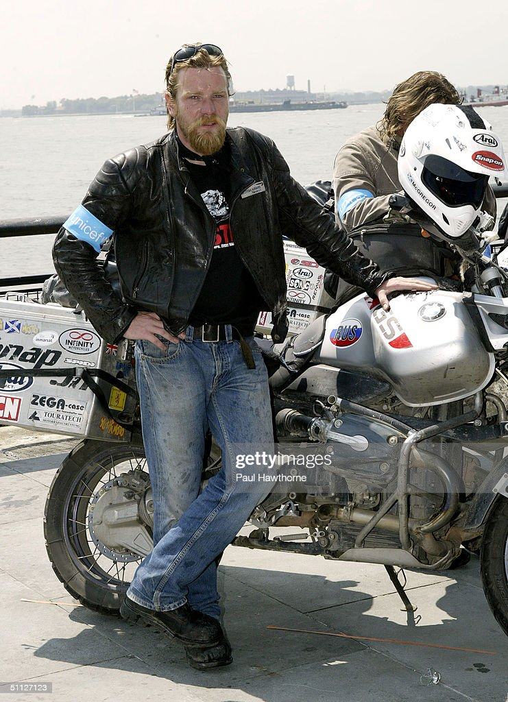 Actors Ewan McGregor Poses For A Photo After Riding Into Battery Park Completing 20000 Mile