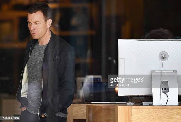Actors Ewan McGregor stands on the set of the Trainspotting film sequel on Princess Street on July 13 2016 in Edinburgh Scotland The long awaited...