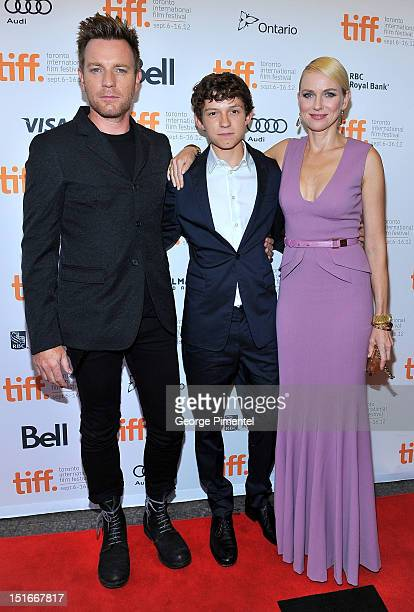 Actors Ewan McGregor Tom Holland and Naomi Watts arrive at the 'The Impossible' Premiere at the 2012 Toronto International Film Festival at the...
