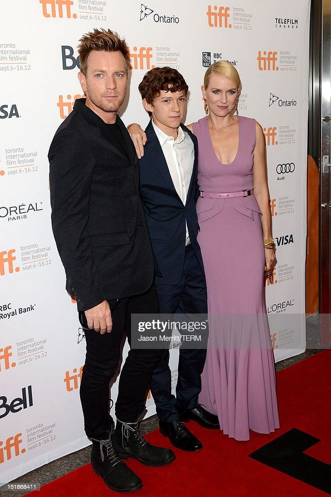 Actors <a gi-track='captionPersonalityLinkClicked' href=/galleries/search?phrase=Ewan+McGregor&family=editorial&specificpeople=202863 ng-click='$event.stopPropagation()'>Ewan McGregor</a>,<a gi-track='captionPersonalityLinkClicked' href=/galleries/search?phrase=Tom+Holland+-+Actor&family=editorial&specificpeople=9843230 ng-click='$event.stopPropagation()'>Tom Holland</a> and <a gi-track='captionPersonalityLinkClicked' href=/galleries/search?phrase=Naomi+Watts&family=editorial&specificpeople=171723 ng-click='$event.stopPropagation()'>Naomi Watts</a> arrives at the 'The Impossible' Premiere at the 2012 Toronto International Film Festival at the Princess of Wales Theatre on September 9, 2012 in Toronto, Canada.