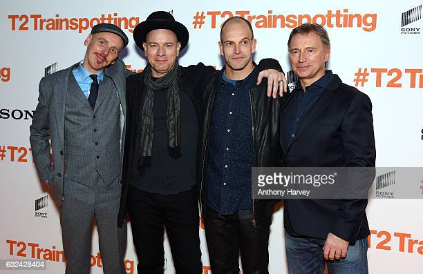 Actors Ewen Bremner Ewan McGregor Jonny Lee Miller and Robert Carlyle attend the 'T2 Trainspotting' world premiere on January 22 2017 in Edinburgh...