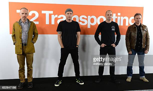Actors Ewen Bremner Ewan McGregor Jonny Lee Miller and Robert Carlyle attend the 'T2 Trainspotting' photocall at Corinthia Hotel London on January 25...