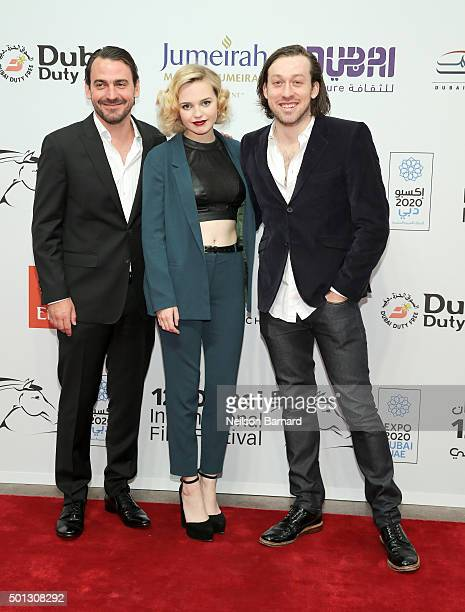 Actors Ewen Leslie Odessa Young and director Simon Stone attend 'The Daughter' premiere during day six of the 12th annual Dubai International Film...
