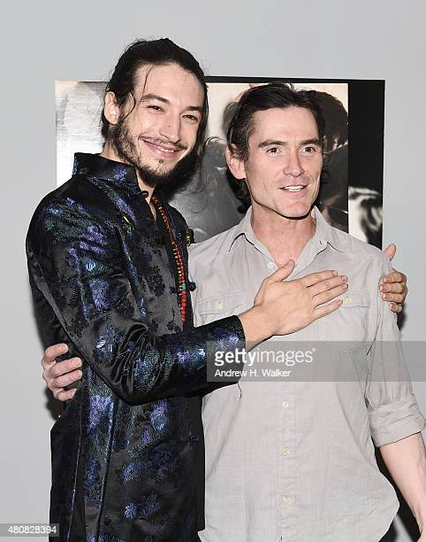 Actors Ezra Miller and Billy Crudup attend the New York premiere of 'The Stanford Prison Experiment' at Chelsea Bow Tie Cinemas on July 15 2015 in...