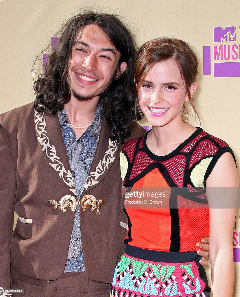 Actors Ezra Miller (L) and Emma Watson arrive at the 2012 MTV Video Music Awards at Staples Center on September 6, 2012 in Los Angeles, California.