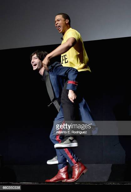 """Actors Ezra Miller and Ray Fisher onstage at CinemaCon 2017 Warner Bros Pictures Invites You to """"The Big Picture"""" an Exclusive Presentation of our..."""