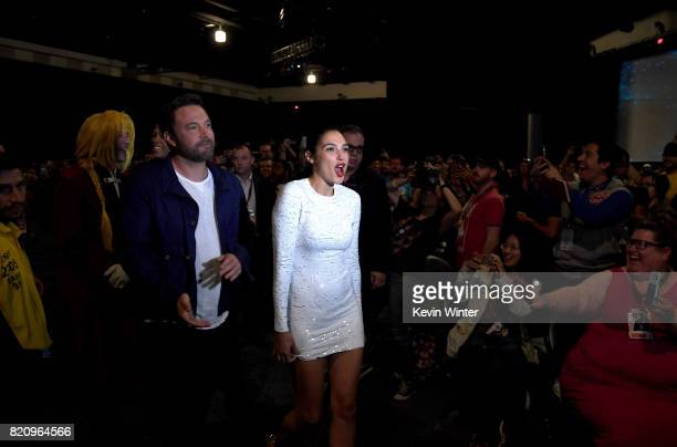 Actors Ezra Miller Ben Affleck and Gal Gadot attend the Warner Bros Pictures 'Justice League' Presentation during ComicCon International 2017 at San...