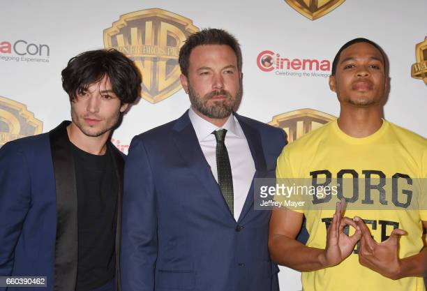 Actors Ezra Miller Ben Affleck and Ray Fisher arrive at the CinemaCon 2017 Warner Bros Pictures presentation of their upcoming slate of films at The...