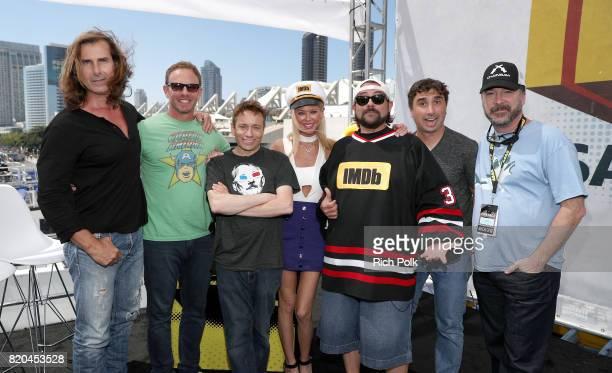 Actors Fabio Lanzoni Ian Ziering Chris Kattan Tara Reid host Kevin Smith director Anthony C Ferrante and producer David Michael Latt on the #IMDboat...