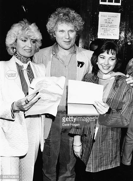 Actors Faith Brown Colin Baker and Nicola Bryant stars of the television show 'Doctor Who' performing the song 'Doctor in Distress' in protest...