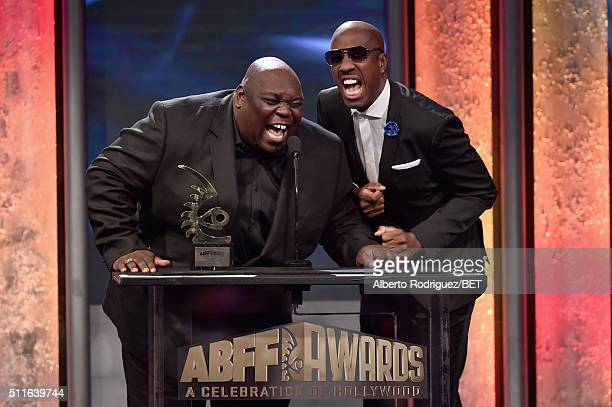 Actors Faizon Love and JB Smoove speak onstage during the 2016 ABFF Awards A Celebration Of Hollywood at The Beverly Hilton Hotel on February 21 2016...