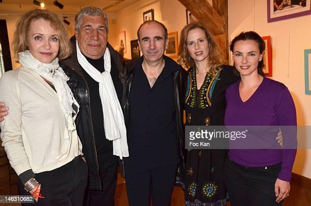 Actors Fanny Cottencon Jean Pierre Castaldi director Philippe Harel actresses Florence DarelÊand Delphine Zentout attend the 'Sophie Au Flore' Sylvie...