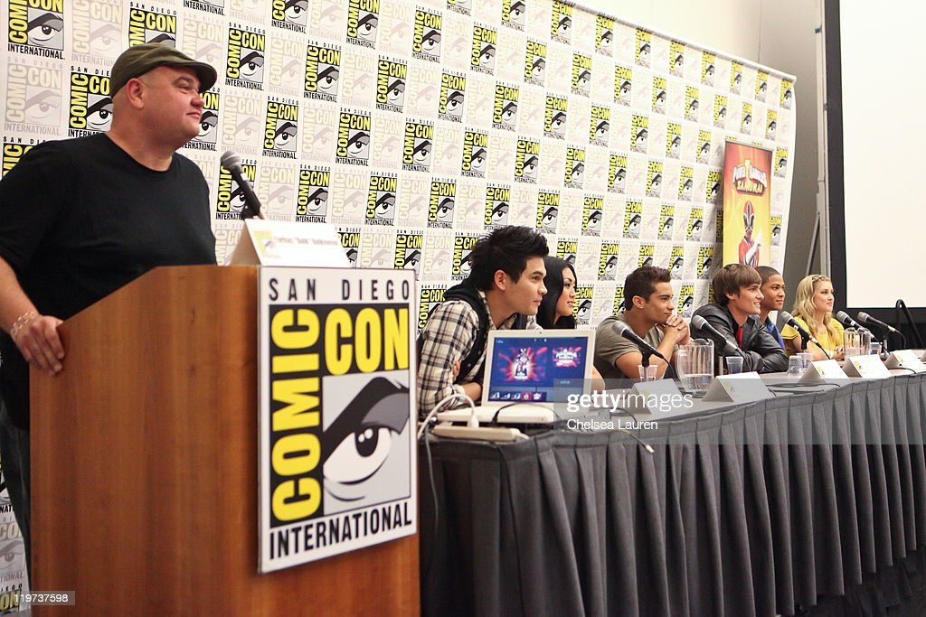 Actors Farkas 'Bulk' Bulkmeier, Steven Skyler, Erika Fong, Hector David Jr., Alex Heartman, Najee De-Tiege and Brittany Anne Pirtle attend Saban's Samurai Power Rangers panel at the 2011 San Diego Comic-Con International on July 23, 2011 in San Diego, California.