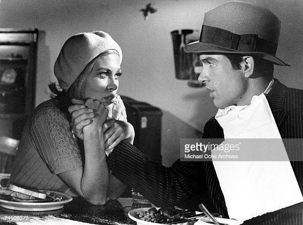 Actors Faye Dunaway and Warren Beatty perform in scene from movie 'Bonnie and Clyde' directed by Arthur Penn Movie won two Academy Awarads