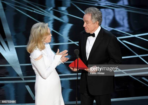 Actors Faye Dunaway and Warren Beatty speak onstage during the 89th Annual Academy Awards at Hollywood Highland Center on February 26 2017 in...