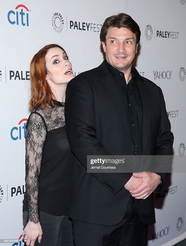 Actors Felicia Day and Nathan Fillion attend the 'Dr Horrible's SingAlong Blog Reunion' during the PaleyFest New York 2015 at The Paley Center for...
