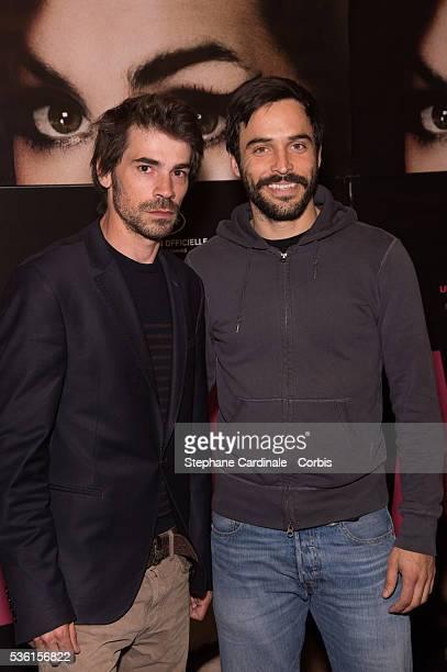 Actors Felicien Juttner and Assaad Bouab attend the 'Amy' Paris Premiere at Cinema Max Linder on June 16 2015 in Paris France