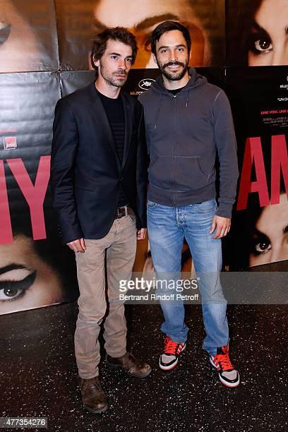 Actors Felicien Juttner and Assaad Bouab attend the 'Amy' Paris Premiere held at Cinema Max Linder on June 16 2015 in Paris France