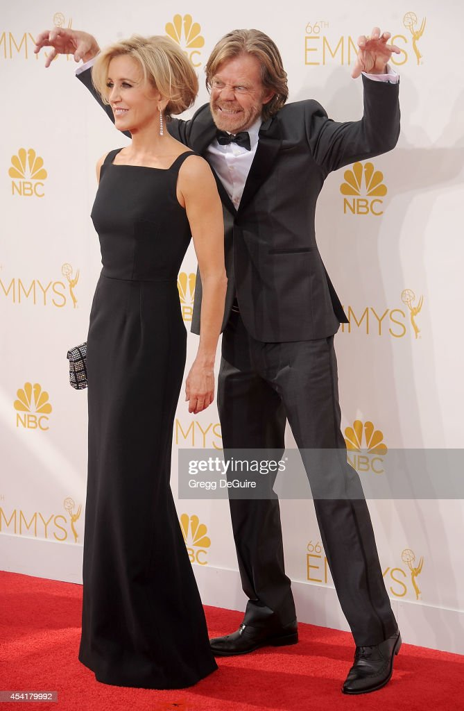 Actors Felicity Huffman and William H Macy arrive at the 66th Annual Primetime Emmy Awards at Nokia Theatre LA Live on August 25 2014 in Los Angeles...